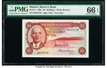 Malawi Reserve Bank of Malawi 10 Shillings 1964 Pick 2 PMG Gem Uncirculated 66 EPQ.   HID09801242017  © 2020 Heritage Auctions | All Rights Reserved