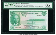 Malawi Reserve Bank of Malawi 1 Pound 1964 Pick 3Aa PMG Gem Uncirculated 65 EPQ.   HID09801242017  © 2020 Heritage Auctions | All Rights Reserved