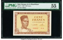 Mali Banque de la Republique Mali 100 Francs 22.9.1960 Pick 2 PMG About Uncirculated 55. Pinholes.  HID09801242017  © 2020 Heritage Auctions | All Rig...