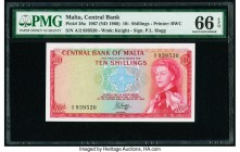 Malta Central Bank of Malta 10 Shillings 1967 (ND 1968) Pick 28a PMG Gem Uncirculated 66 EPQ.   HID09801242017  © 2020 Heritage Auctions | All Rights ...