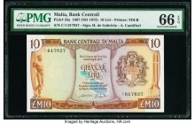 Malta Bank Centrali ta' Malta 10 Liri 1967 (1973) Pick 33a PMG Gem Uncirculated 66 EPQ.   HID09801242017  © 2020 Heritage Auctions | All Rights Reserv...