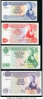 Mauritius Bank of Mauritius 5; 10; 25; 50 Rupees ND (1967) Pick 30c*; 31a; 32b; 33c Denomination Set About Uncirculated-Crisp Uncirculated. Replacemen...