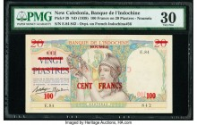 New Caledonia Banque de l'Indochine 100 Francs on 20 Piastres ND (1939) Pick 39 PMG Very Fine 30. Overprinted on French Indochina #56.  HID09801242017...