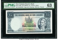 New Zealand Reserve Bank of New Zealand 5 Pounds ND (1960-67) Pick 160d PMG Choice Uncirculated 63. Minor thinning.  HID09801242017  © 2020 Heritage A...