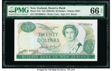 New Zealand Reserve Bank of New Zealand 20 Dollars ND (1989-92) Pick 173c Low Serial Number 14 PMG Gem Uncirculated 66 EPQ. Low serial number 14.  HID...