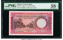 Nigeria Central Bank of Nigeria 1 Pound 15.9.1958 Pick 4a PMG Choice About Unc 58 EPQ.   HID09801242017  © 2020 Heritage Auctions | All Rights Reserve...