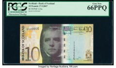 Scotland Bank of Scotland 10 Pounds 17.9.2007 Pick 125a Low Serial Number PCGS Gem New 66 PPQ. Low serial number 666.  HID09801242017  © 2020 Heritage...
