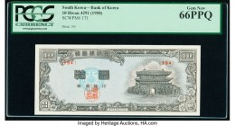 South Korea Bank of Korea 10 Hwan (1958) Pick 17f PCGS Gem New 66 PPQ.   HID09801242017  © 2020 Heritage Auctions | All Rights Reserved
