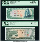 South Korea Bank of Korea 100; 500 Won ND (1965); ND (1966) Pick 38a; 39a Two Examples PCGS Gem New 65 PPQ; Superb Gem New 68 PPQ.   HID09801242017  ©...