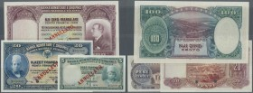 Albania / Albanien. Set of 3 banknotes containing 5 Franka Ari ND(1926) Specimen P. 2s (one corner fold, aUNC), 20 Franka Ari ND(1926) Specimen P. 3s ...