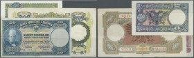 Albania / Albanien. Set of 3 notes containing 20 Franka Ari ND(1926) P. 3a (F), 5 Franga ND(1939) P. 6a (pressed, F) and 20 Franga ND(1939) P. 7 (VF-)...