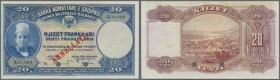 Albania / Albanien. 20 Franka Ari ND(1926) SPECIMEN, P.3s in very nice condition with two soft vertical folds at center, brownish stains at upper marg...