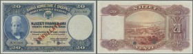 Albania / Albanien. 20 Franka Ari ND (1926) Specimen P. 3s, with zero serial numbers, cancellation holes, red overprint in condition: UNC.