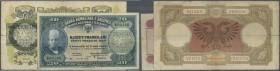 Albania / Albanien. Set of 2 banknotes containing 20 Franka Ari ND(1945) P. 12b (F) and 20 Franga ND(1945) P. 13 (F-), nice set. (2 pcs)