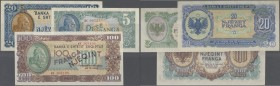 Albania / Albanien. Set of 3 notes containing 5,20,100 Franga 1945 P. 15-17, UNC, only the 100 is aUNC with a light corner fold at upper right, nice s...