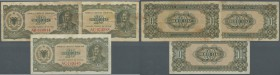 Albania / Albanien. Set of 3 notes 10 Leke 1947 P. 19, with prefix 2x AC and 1x AB, all notes in aF condition. Nice set. (3 pcs)