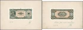Albania / Albanien. Very rare proof prints from the printing works of the 10 Lela 1947 P. 19(p) banknote, front and back seperatly printed, mounted on...