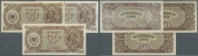 Albania / Albanien. Set of 3 banknotes 50 Leke 1947 P. 20, 2x with prefix AD, 1x with prefix AA, the first two in VF+ with foxing and F, the third one...