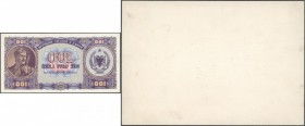 Albania / Albanien. Highly rare security printers proof / trial of the front of a 100 Leke note 1947 P. 21p mounted on card, showing the detailed pre-...