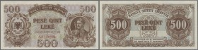 Albania / Albanien. 500 Leke 1947 P. 22, light dints at upper border and left, otherwise crisp original condition: aUNC.