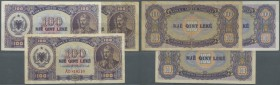 Albania / Albanien. Set of 3 notes 100 Leke 1947 P. 222, with prefix AA (F-), AB (VF-) and AD (F), nice set. (3 pcs)