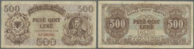 Albania / Albanien. 500 Leke 1947 P. 22, used with folds and stain in paper, minor border tears, stronger center fold, no holes, condition: F.