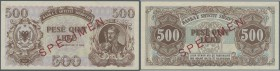 Albania / Albanien. 500 Leke 1947 Specimen P. 22s, light corner bend at upper left, condition: aUNC.