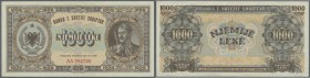 Albania / Albanien. 1000 Leke 1947 P. 23, light center fold and light handling in paper, condition: XF-.