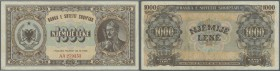 Albania / Albanien. 1000 Leke 1947 P. 23, some light folds and creases in paper but no holes or tears, paper still crisp, condition: F+ to VF-.