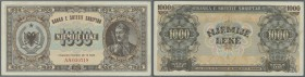 Albania / Albanien. 1000 Leke 1947 P. 23, center fold and light corner folding, strong paper, condition: VF+.