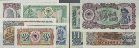 Albania / Albanien. Set of 5 banknotes containing 10, 50, 100, 500 and 1000 Leke 1949-57, P. 25, 28, 30, 31, 32, all in condition: UNC. (5 pcs)