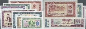 Albania / Albanien. Set of 7 banknotes containing 1, 3, 5, 10, 25, 50 and 100 Leke 1964-76, P. 36,38,40,41,42,44,46, the P. 38 is aUNC, all others are...