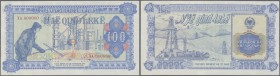 Albania / Albanien. 100 Leke ND Specimen P. 46Ab, blue color, zero serial numbers, light and tiny ink stains at left, right and lower border, probably...