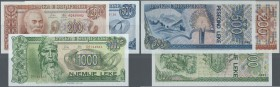 Albania / Albanien. Set of 3 banknotes containing 200, 500 and 1000 Leke 1992, P. 52-54, the first with light dint at upper border (aUNC), the other t...
