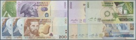 Albania / Albanien. Set of 5 banknotes containing 200, 500 and 1000 Leke 2001 P. 67-69 and 500, 2000 Leka 2007 P. 72, 74, all notes in condition: UNC....