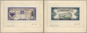Albania / Albanien. Very rare hand executed design studies from the printing works for a 20 Franga 1945 banknote which was never issued, front and bac...
