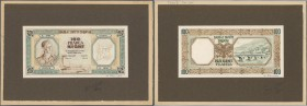Albania / Albanien. Very rare hand executed design studies from the printing works for a 100 Franga 1945 banknote which was never issued, front and ba...