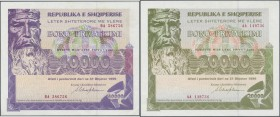 Albania / Albanien. Albania: Set of 2 notes 20.000 and 40.000 Leke 1999 P. NL, the first one in aUNC, the second one in VF condition. (2 pcs)