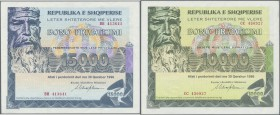 Albania / Albanien. Set of 3 notes 10.000, 15.000 and 20.000 Leke 1996 P. NL, in condition 2x aUNC, 1x VF+, nice set. (3 pcs)