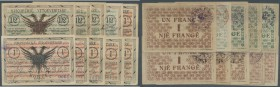 "Albania / Albanien. Set of 10 banknotes containing 3x 1/2 Frange 1917 P. S141 series ""A"" (1x VF, 2x F), 1/2 Frange 1917 P. S145 Series ""C"" (XF-) and 4..."