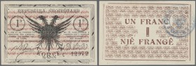 Albania / Albanien. 1 Frac 1917 P. S146b, never folded, crisp original, only a light dint at left border and at lower left corner, a tiny paper irrita...