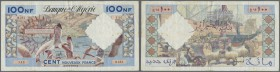 Algeria / Algerien. 100 Nouveaux Francs 1961, P.121b in used condition with some stains, small tears along the borders and holes at center. Condition:...