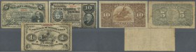 Argentina / Argentinien. Set with 3 Banknotes containing 5 and 10 Centavos 1890, Ley 2707, P.209 and 210 and 1 Peso 1869 issued by La Provincia de Bue...
