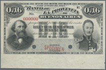 "Argentina / Argentinien. 0,16 Centesimos 1883 Specimen P. S532s with red ""Specimen"" overprint, zero serial numbers and two cancellation holes at lower..."