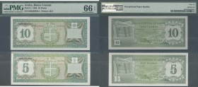 Aruba. Aruba: set of 2 notes 5 and 10 Florin 1986 P. 1 & P. 2, the 5 Florin in condition UNC, the 10 Florin as PMG graded 66 gem UNC EPQ. Nice set. (2...