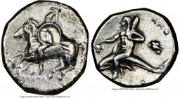 CALABRIA. Tarentum. Ca. 281-240 BC. AR stater or didrachm (19mm, 6.32 gm, 9h). NGC Choice VF 4/5 - 2/5, scratches. Apollo- and Zo-, magistrates. Warri...