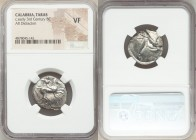 CALABRIA. Tarentum. Ca. early 3rd century BC. AR didrachm (21mm, 9h). NGC VF. Lycon and Si-, magistrates. Warrior on horseback right, thrusting spear ...