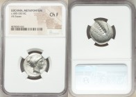 LUCANIA. Metapontum. Ca. 400-330 BC. AR stater (22mm, 5h). NGC Choice Fine. Head of Demeter right, hair braided and wrapped in double taenia, pulled i...