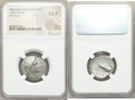 LUCANIA. Metapontum. Ca. 330-280 BC. AR stater (22mm, 10h). NGC Choice Fine. Head of Demeter right, crowned with grain; ΔAI before / META, grain ear w...