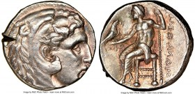 MACEDONIAN KINGDOM. Alexander III the Great (336-323 BC). AR tetradrachm (25mm, 17.17 gm, 7h). NGC Choice AU 3/5 - 2/5, test cut. Posthumous issue of ...